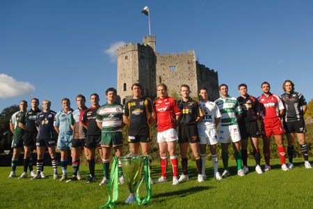 The players gather in Cardiff Castle at the official launch of the 13th Heineken Cup competition