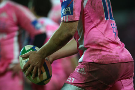Stade Francais sported their eye-catching pink strip at Stade Jean Boin